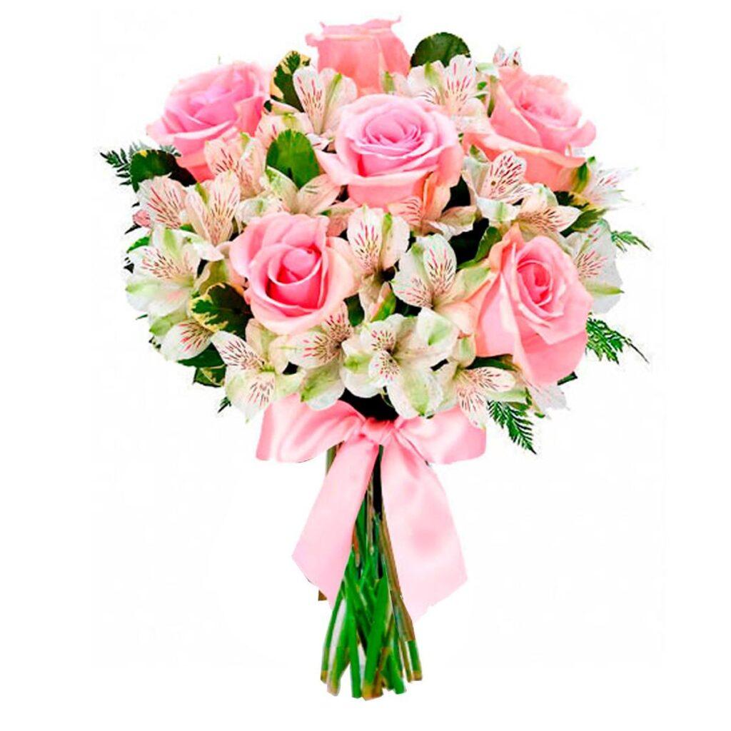 presente para mulher buque de flores rosas e astromelias