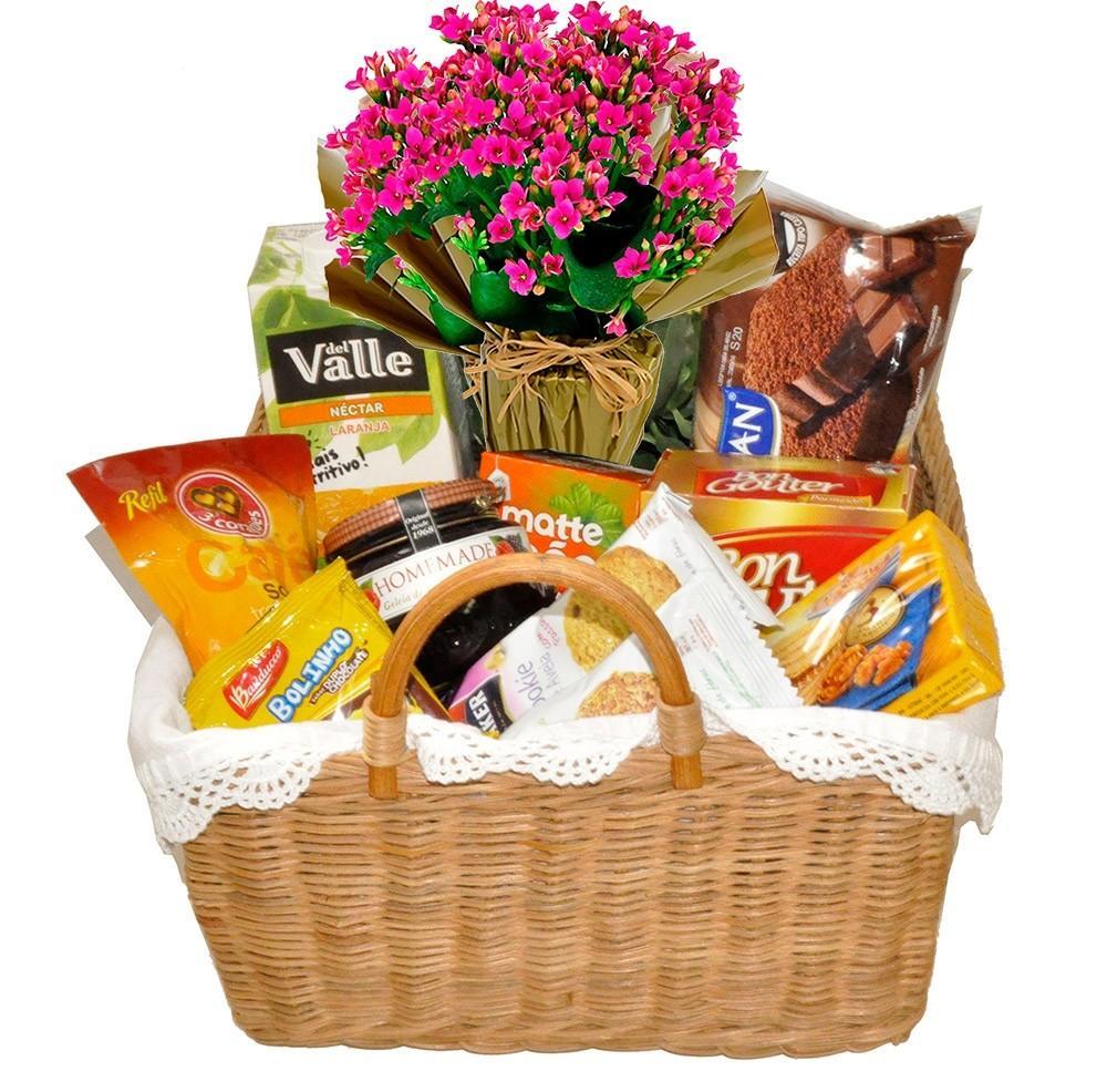 presentes para mulher cesta cafe com flores