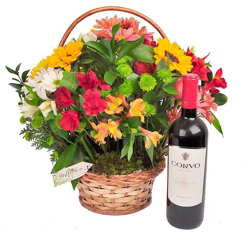 presentes para mulher cesta de flores com vinho