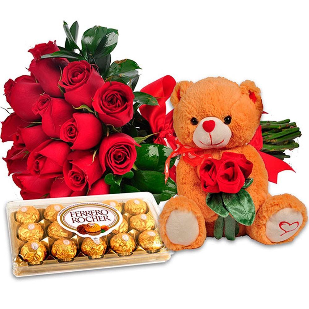 presentes para mulher flores pelucia e chocolates