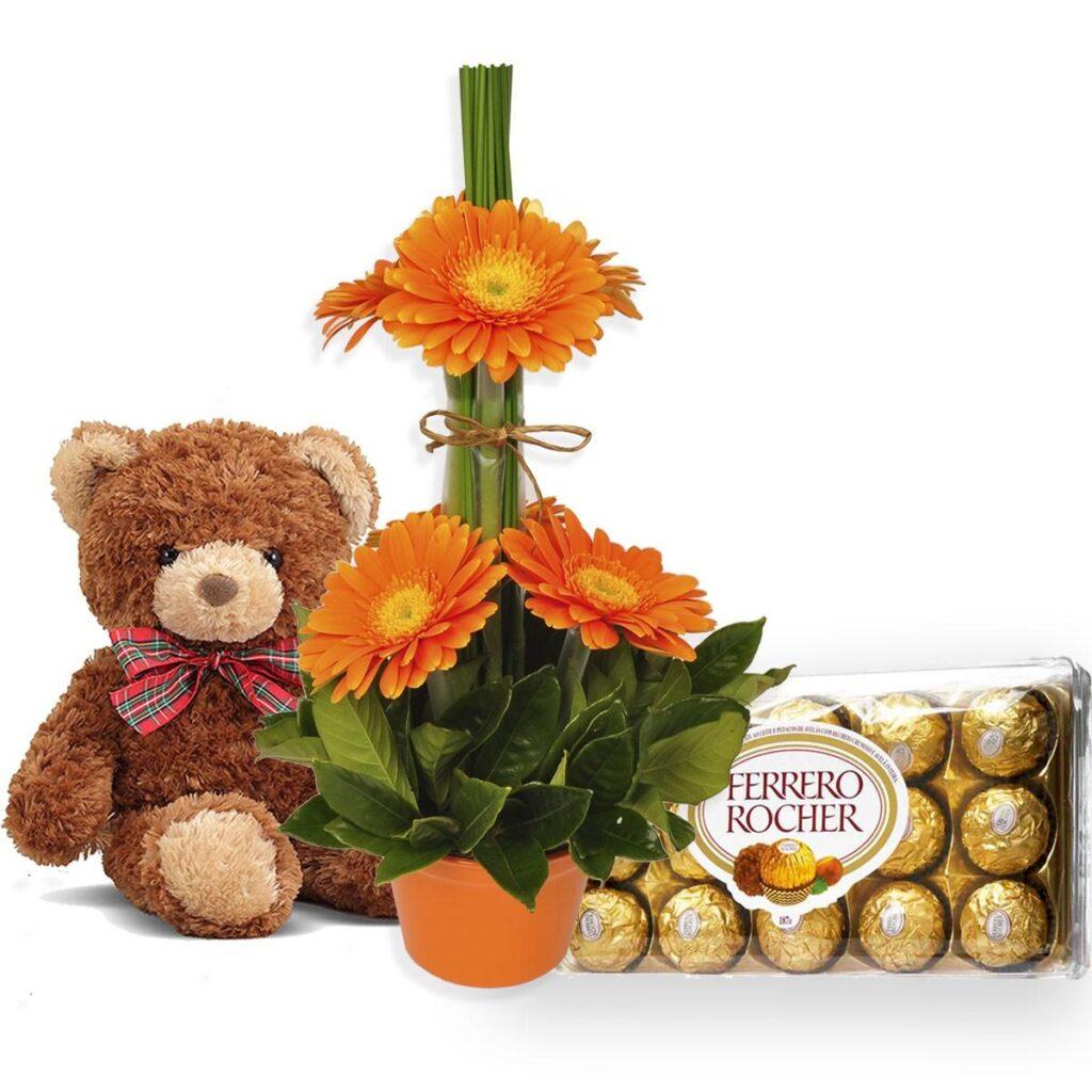 presentes para mulher gerberas chocolates e pelucia