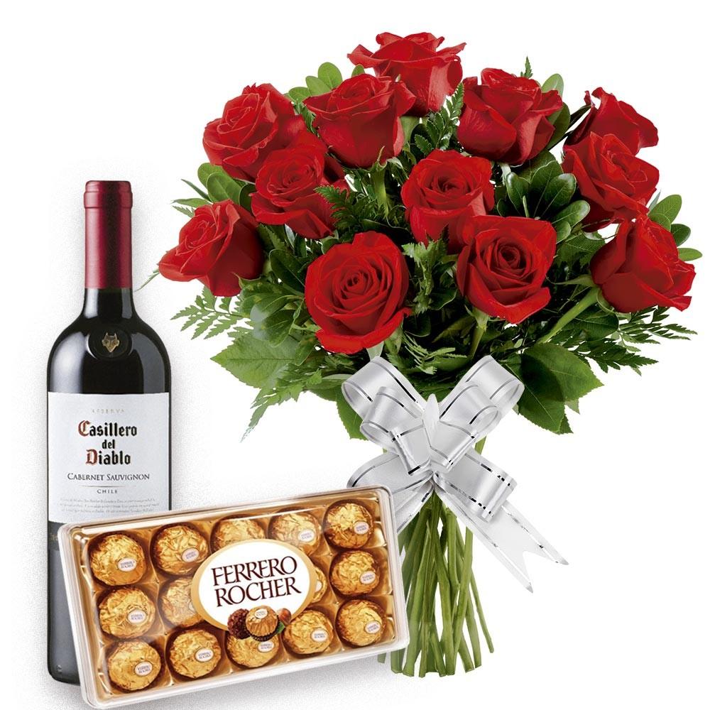mensagem linda de natal e buque de rosas chocolates e vinho