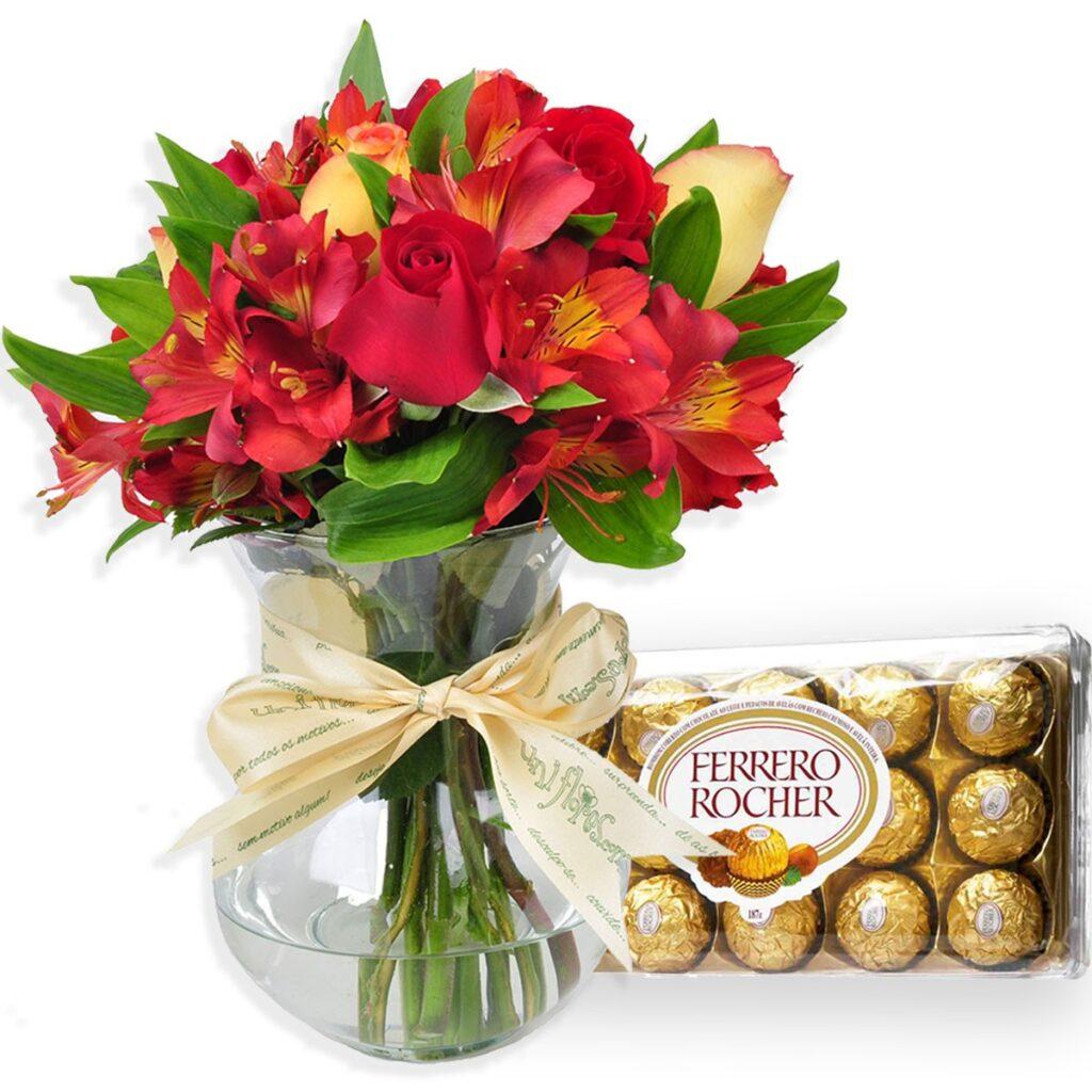 mensagem linda de natal e buque de rosas e chocolates