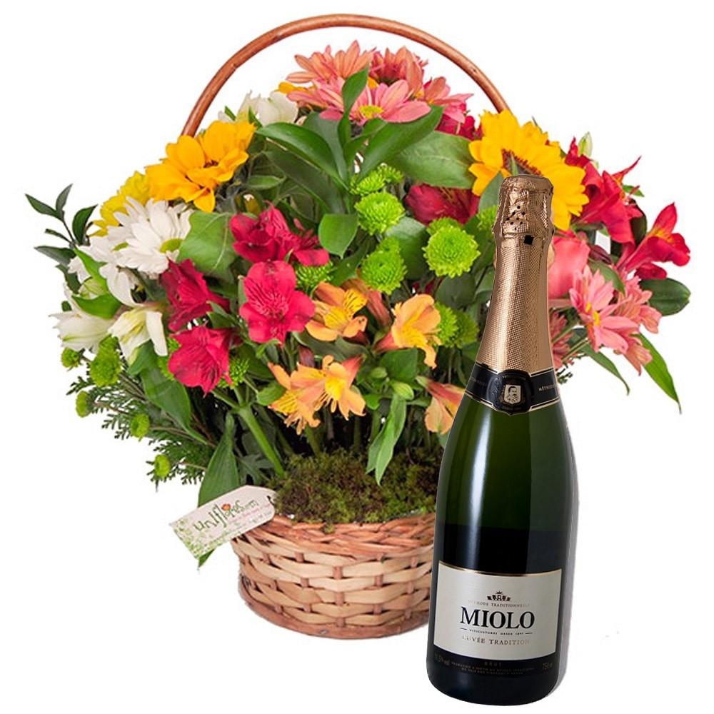 mensagem linda de natal cesta de flores e espumante